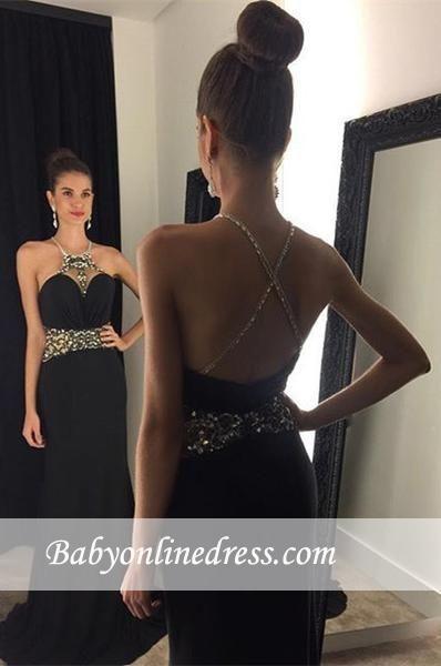 Newest Sleeveless Black Prom Dress 2018 Crystal Jewel Evening Gowns