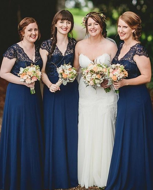 Romance Lace Chiffon Navy Blue Long Bridesmaid Dresses