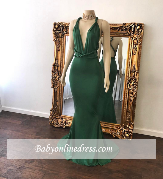 Green V-Neck Floor-Length Long Beautiful Mermaid Evening Dress