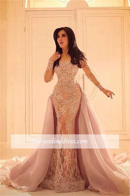 Overskirt Long Lace Luxurious Sleeves Sexy Mermaid Appliques Evening Dresses