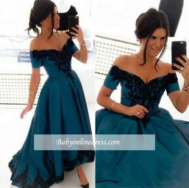 Elegant Appliques Off-the-Shoulder Evening Gowns 2018 Hi-Lo A-Line Prom Dress