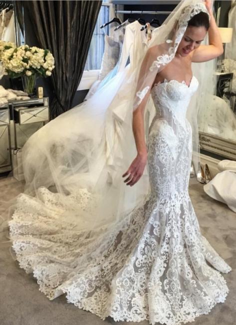 Elegant Lace Mermaid Wedding Dresses | Sweetheart Neck Sleeveless Bridal Gowns