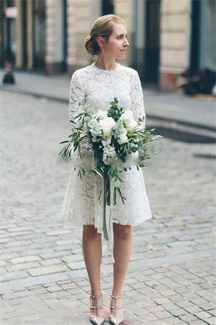 Jewel Short Unformal Lace Wedding Dresses with Long Sleeves