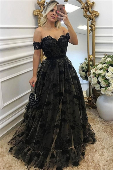 Sexy Black Lace Neck Applique Short Sleeves Long 2018 Formal Prom Dresses