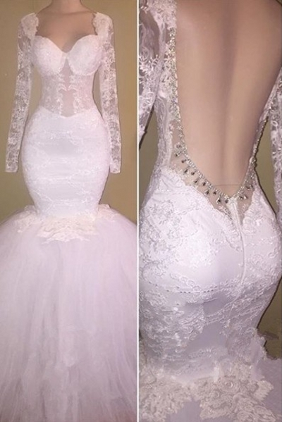 New White Backless Prom Dresses | Sexy Long Sleeves Mermaid Wedding Dresses