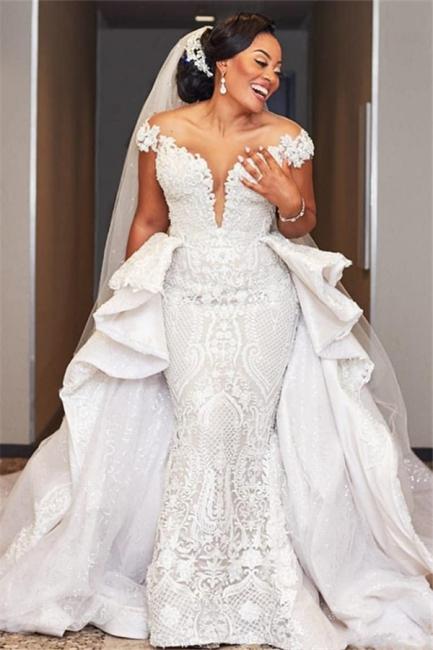 Elegant Off the Shoulder Lace Wedding Dresses With Detachable Train