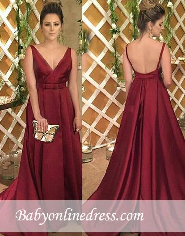 Satin Sleeveless Backless Burgundy V-Neck Evening Dress