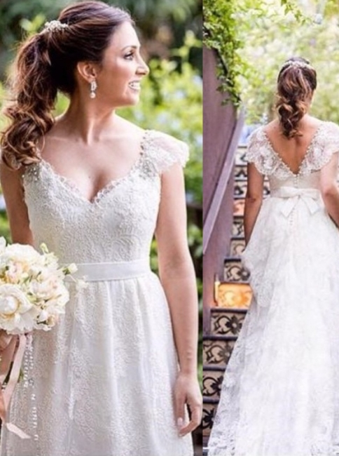A-line V-neck Bow Cap Sleeves Simple Lace White Wedding Dress