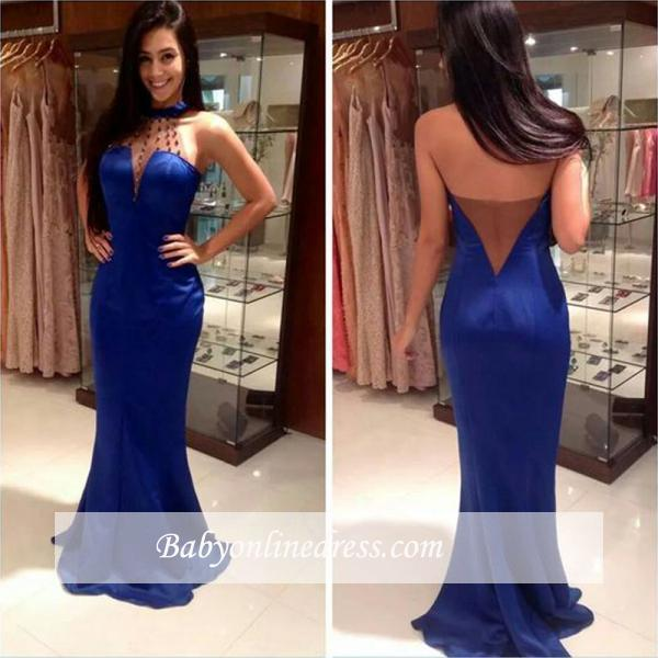 Blue Mermaid Open Back Prom Dresses Sleeveless High Neck Evening Gowns