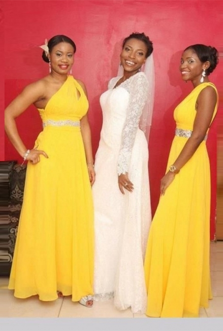 A-line One-Shoulder Beads Modern Chiffon Yellow Bridesmaid Dress