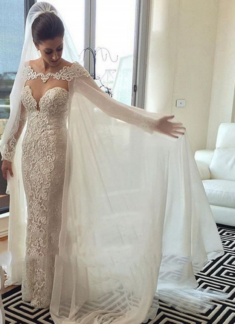 Chic Cape Mermaid Wedding Dresses   Long Sleeves Lace Beading Bridal Gowns