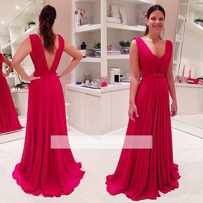 Bowknot Elegant Chiffon Long Sleeveless A-Line Red Prom Dresses