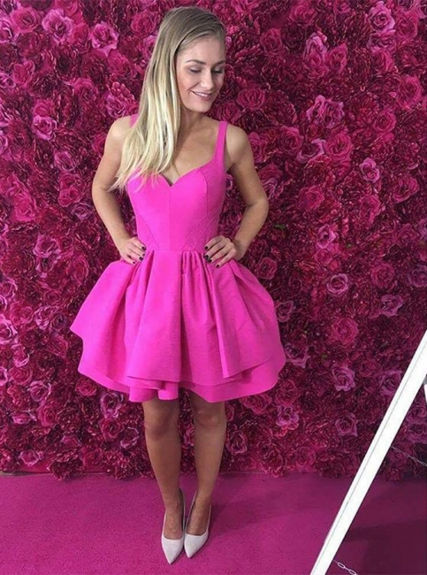 Sexy Tutu A-Line Homecoming Dresses | Straps 2 Layers Mini Cocktail Dresses