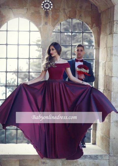 A-Line Floor-Length Off-the-shoulder Beautiful Wine Evening Dress