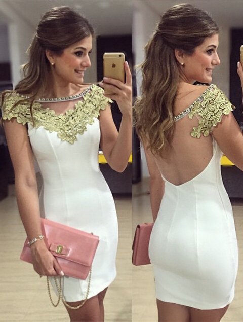 Short Sheath Appliques Homecoming Dresses Short Sleeves Cocktail Dresses with Beadings