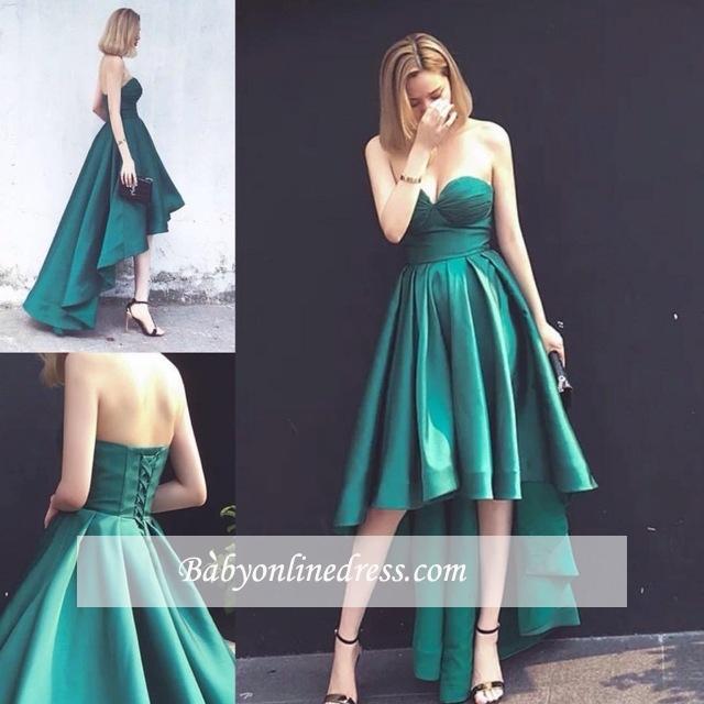 Asymmetrical Ruffles Sleeveless Sweetheart Lace-up Hi-Lo Hot Evening Gown