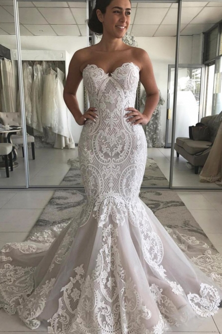Off the Shoulder Lace Fit and Flare Sweetheart Wedding Dresses