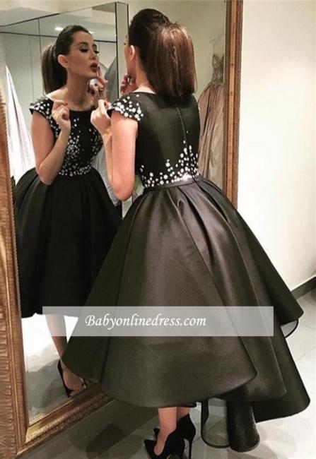 Sparkly Black Hi-Lo Tea-Length Puffy A-Line Prom Dresses