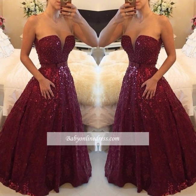 Elegant Sweetheart Crystal Burgundy Evening Gowns A-Line Prom Dress with Beadings