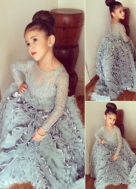 Grey Cloud Flower Girl's Dresses Lace Long Sleeves Tiers Long Stunning Girl's Pageant Dresses
