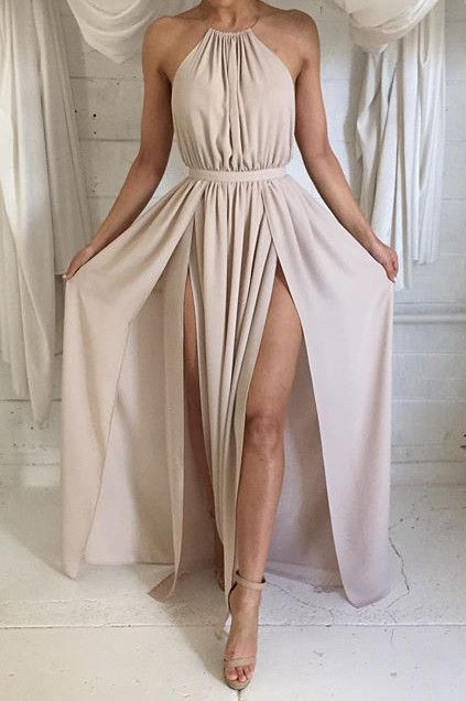 Sexy Split Backless Chiffon Evening Gowns Halter Sleeveless Summer Maxi Dresses