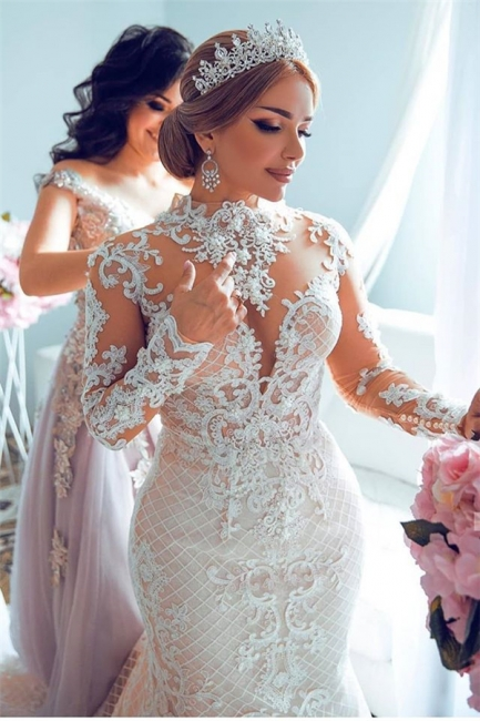 High Neck Sheer Lace Gorgeous Long Sleeves Wedding Dresses
