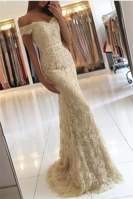 Elegant 2018 Lace Mermaid Prom Dresses Off the Shoulder Beading with Belt
