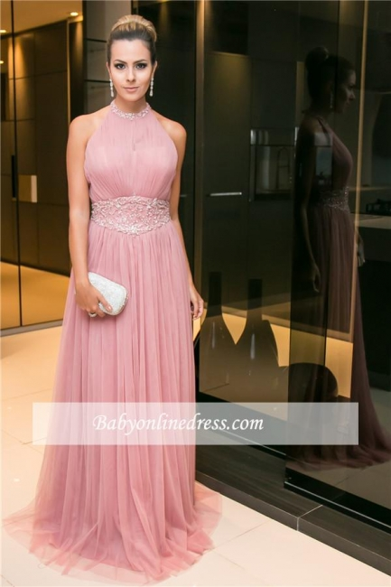 Newest Candy Pink Sleeveless Open Back Long Tulle Beaded Halter Evening Dress
