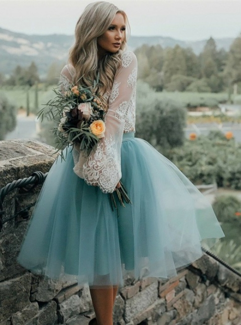 Chic Lace Long Seeves Tutu Tulle A-Line Homecoming Dresses