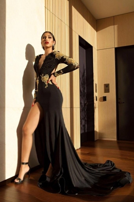 Amazing Black Gold Prom Dresses | Sexy High Slit Evening Gowns