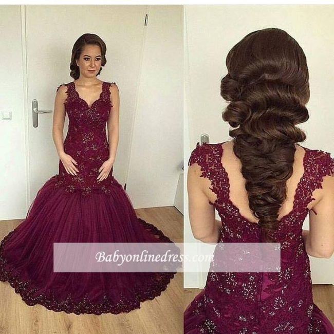Burgundy Sheath Puffy V-neck Straps Lace Appliques Beaded Tulle Evening Gown