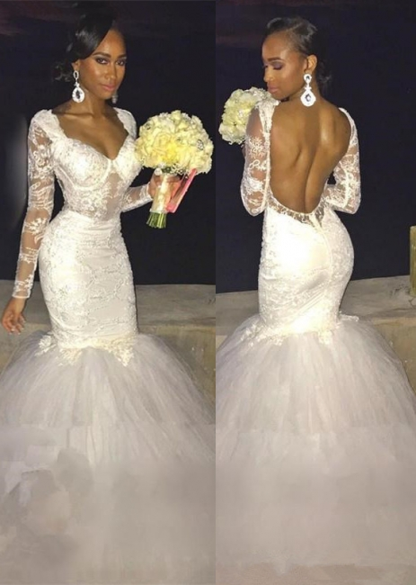 Sexy Mermaid Lace Long-Sleeve Backless Wedding Dress