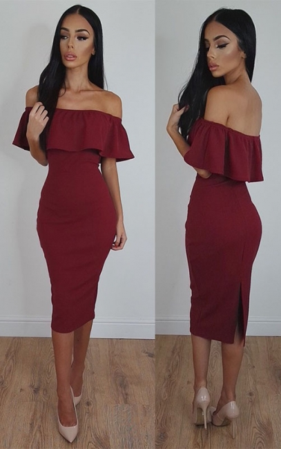 2018 Burgundy Bodycon Sexy Off-Shoulder Tea-Length Prom Dress