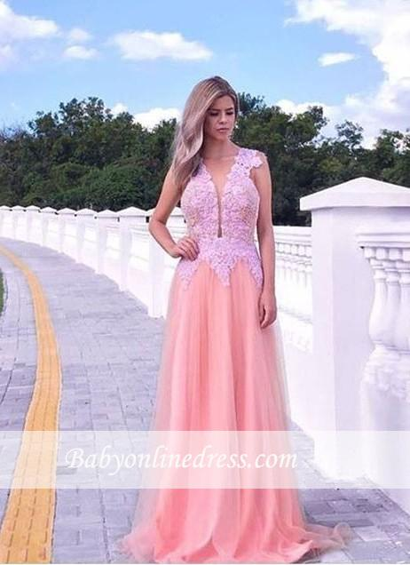 Appliques V-neck A-line Prom Dress Sleeveless Tulle Sweep-train Evening Gowns
