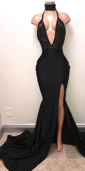 Sexy Black Slit Prom Dresses | Halter V-Neck Evening Gowns