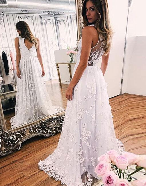 Lace Sweep-train White V-neck A-line Wedding Dress