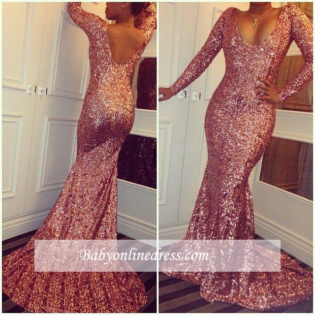 Sexy Long-Sleeves Simple Mermaid Sequined Prom Dresses