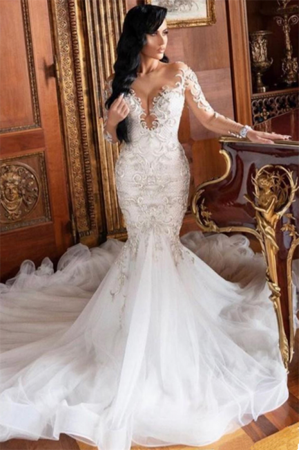 Jewel Long Sleeves Mermaid Sexy Lace Wedding Dresses