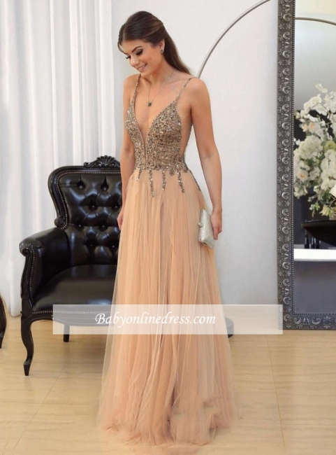 Floor-length Sexy Straps Spaghetti Long Prom Dresses