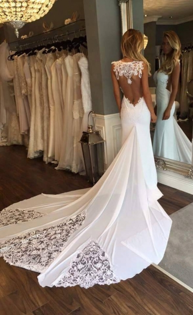 Appliques Mermaid Wedding Dresses with Chapel Train | Sleeveless Trumpet Bridal Gowns