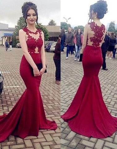Sexy Burgundy Lace Mermaid Jewel Sleeveless Formal Dress