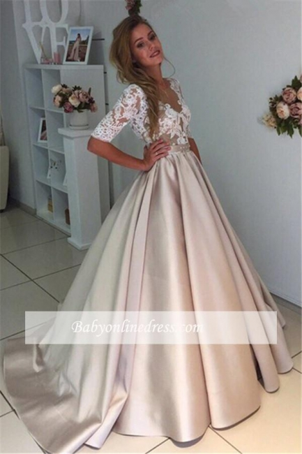 Half-Sleeves A-Line Gorgeous Puff Illusion Appliques Lace Wedding Dresses
