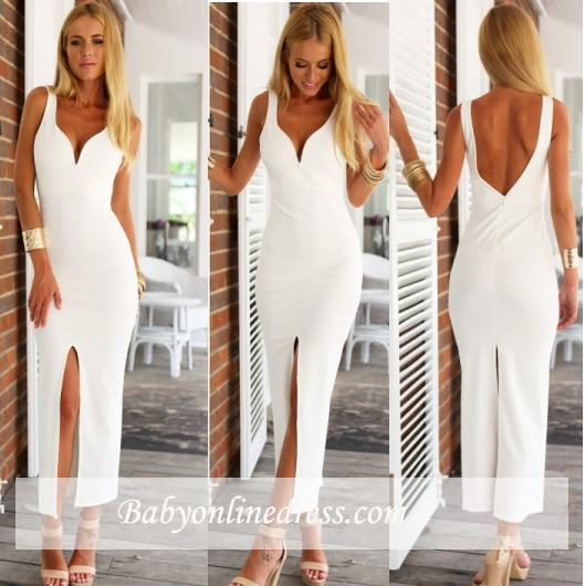 Open-Back Sheath Natural Spaghetti-Strap White Sexy Evening Dresses