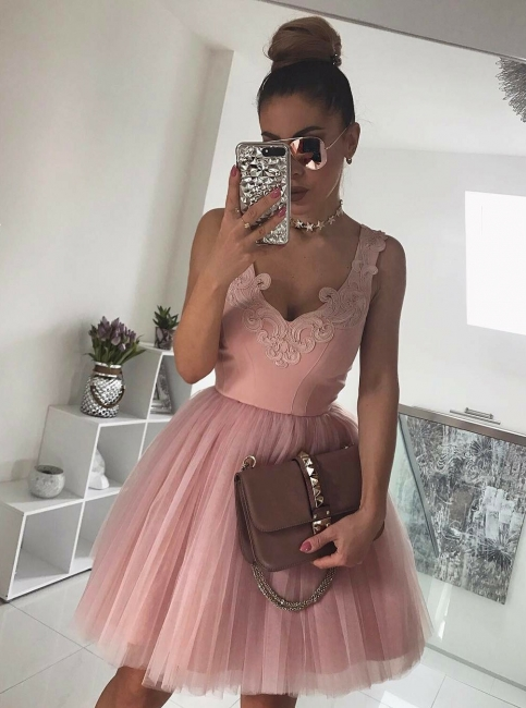 Sexy V-Neck Sleeves A-Line Homecoming Dresses | Tulle Mini Cocktail Dresses