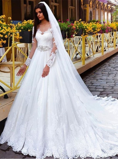 Elegant Long Sleeves Crystal Lace Princess Wedding Dresses