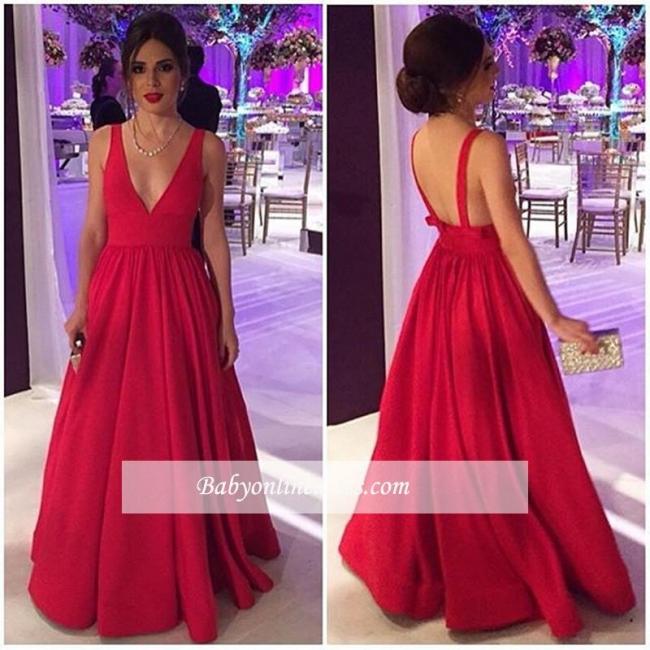 V-neck New Red Long Sleeveless Elegant Cheap Open-Back Evening Dresses BA4857