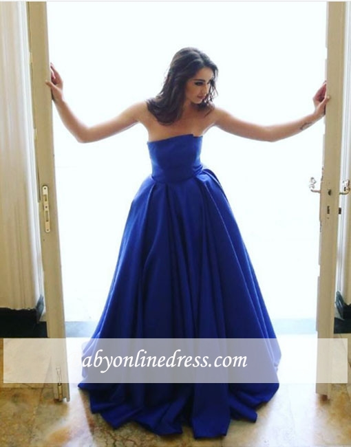 Long Blue Sleeveless Strapless Elegant A-line Simple Evening Dress