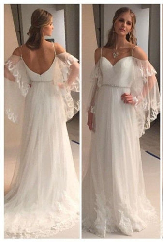 Summer Beach Wedding Dresses Spaghettis Straps Off the Shoulder Boho A-line Bridal Gowns