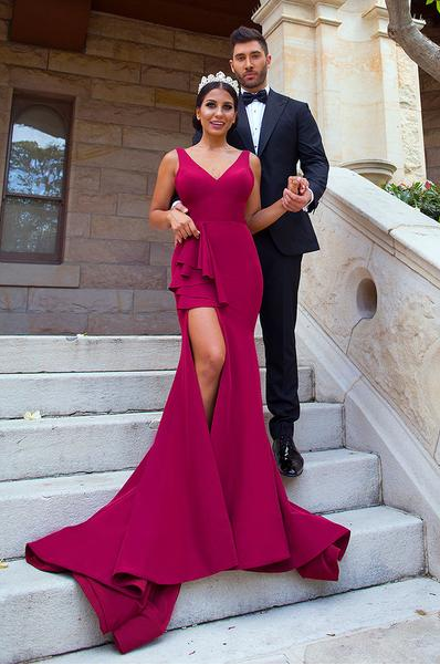 Sexy Mermaid Straps Burgundy Bridesmaid Dresses Split Backless Court Train