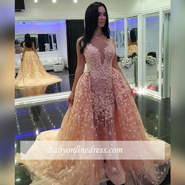 Mermaid Pink Puffy Dubai-Muslim Sexy Detachable-Train Evening Dresses